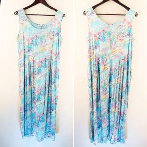 Jams World | Sleeveless Maxi Dress Floral Blue XL